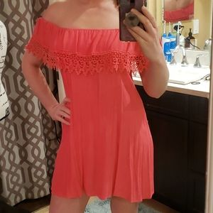 NWT Lucy Love Cold Shoulder Crochet Dress